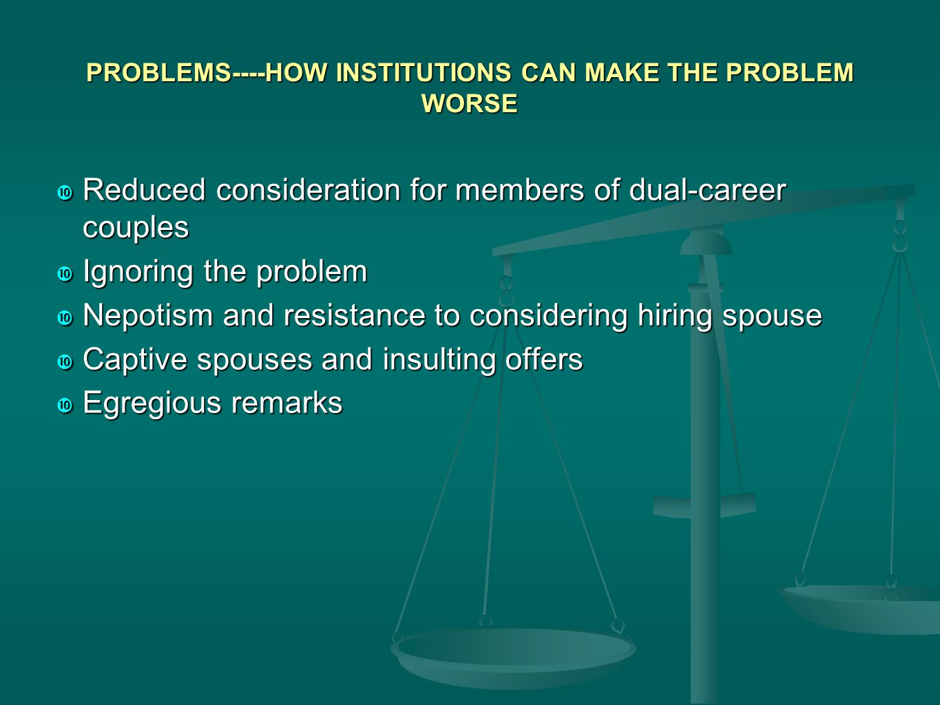 PROBLEMS----HOW INSTITUTIONS CAN MAKE THE PROBLEM WORSE  Reduced consideration for members of dual-career couples  Ignoring the problem  Nepotism and resistance to considering hiring spouse  Captive spouses and insulting offers  Egregious remarks