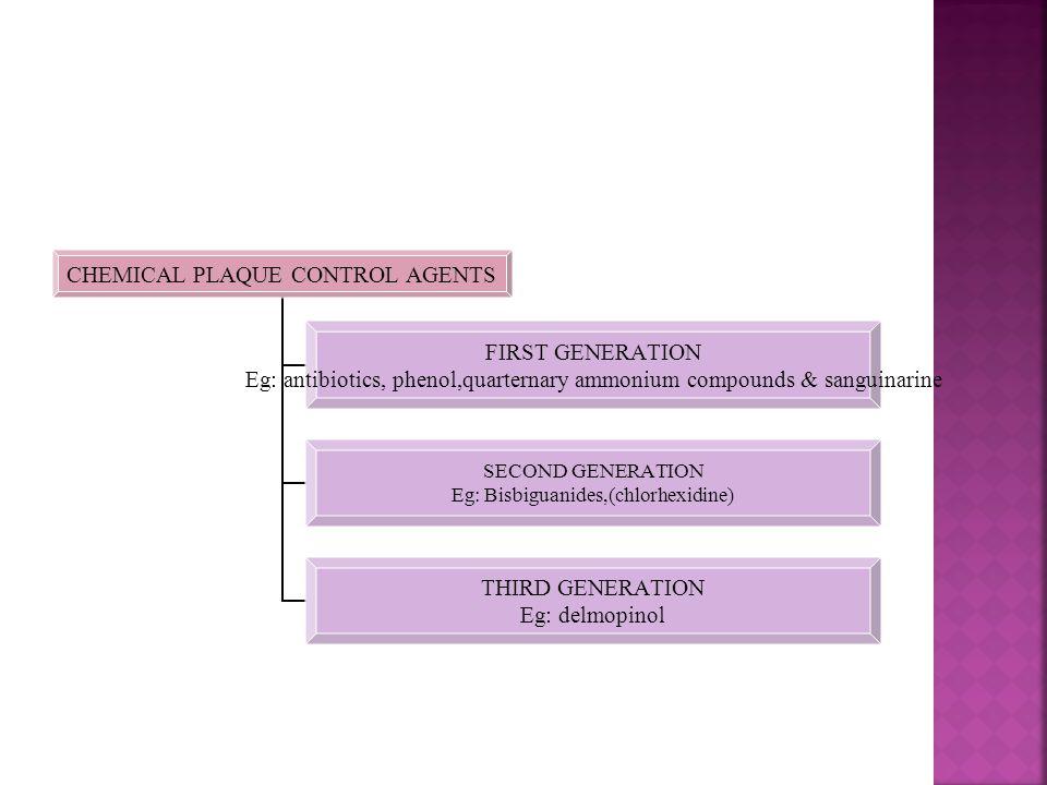 CHEMICAL PLAQUE CONTROL AGENTS FIRST GENERATION Eg: antibiotics, phenol,quarternary ammonium compounds & sanguinarine SECOND GENERATION Eg: Bisbiguanides,(chlorhexidine) THIRD GENERATION Eg: delmopinol
