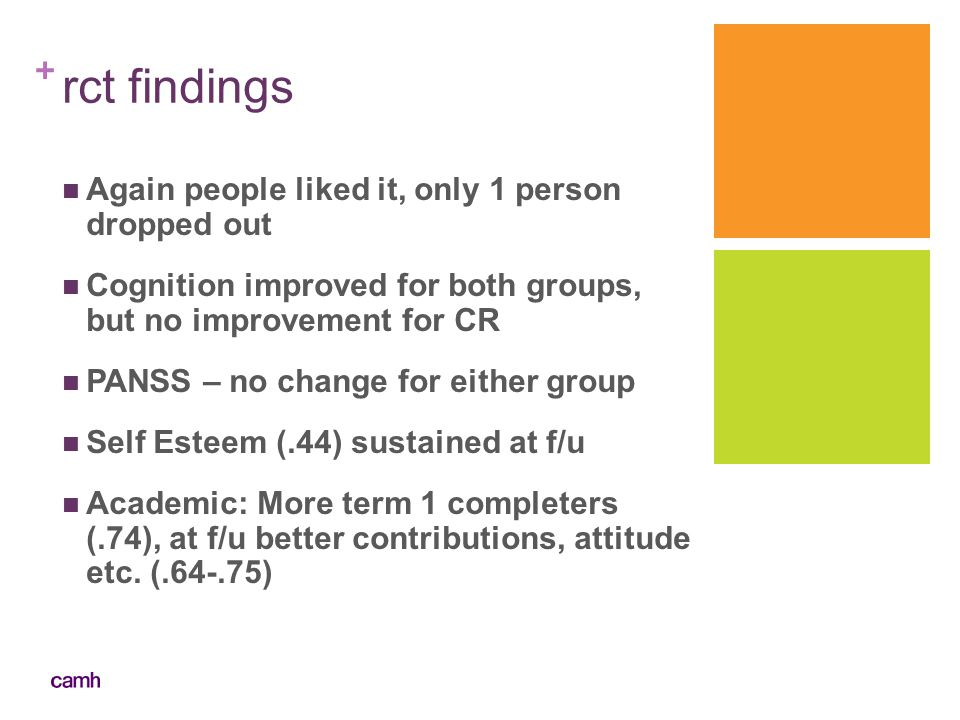 + rct findings Again people liked it, only 1 person dropped out Cognition improved for both groups, but no improvement for CR PANSS – no change for ei