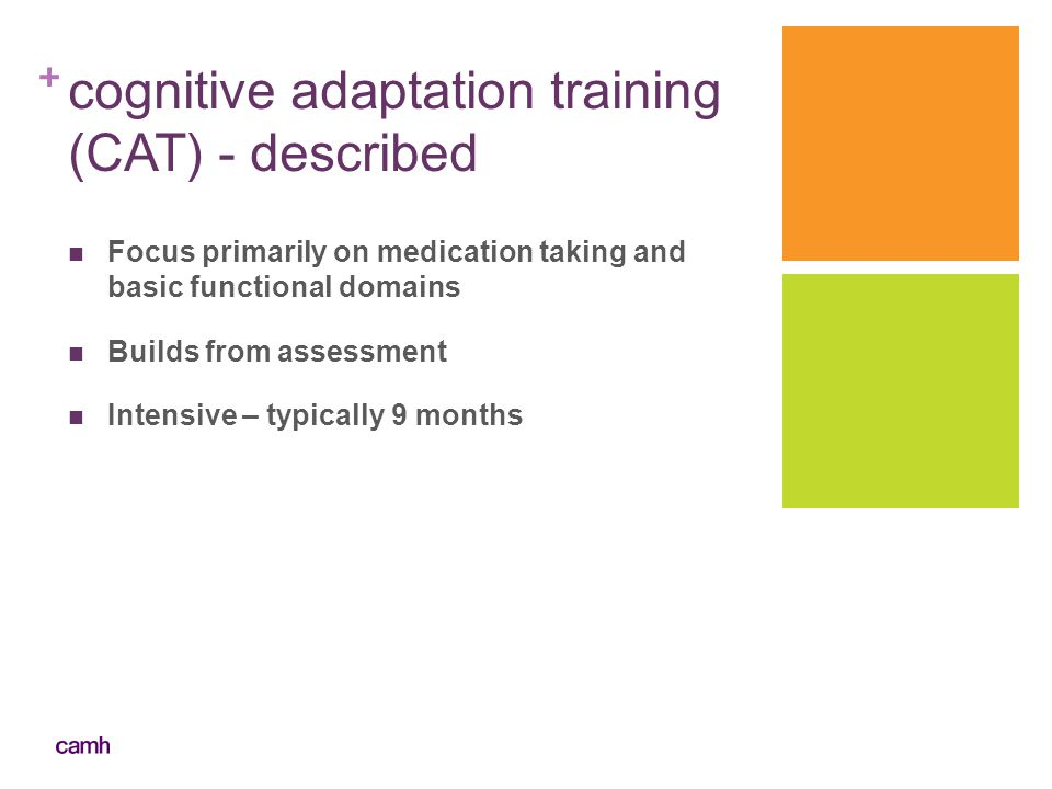+ cognitive adaptation training (CAT) - described Focus primarily on medication taking and basic functional domains Builds from assessment Intensive –