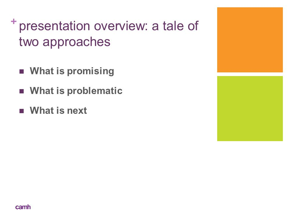 + presentation overview: a tale of two approaches What is promising What is problematic What is next