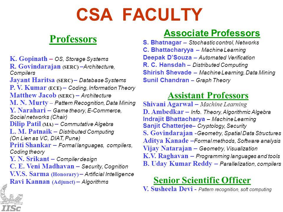 Professors K. Gopinath – OS, Storage Systems R.