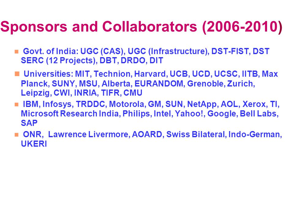 Sponsors and Collaborators (2006-2010) Govt. of India: UGC (CAS), UGC (Infrastructure), DST-FIST, DST SERC (12 Projects), DBT, DRDO, DIT Universities: