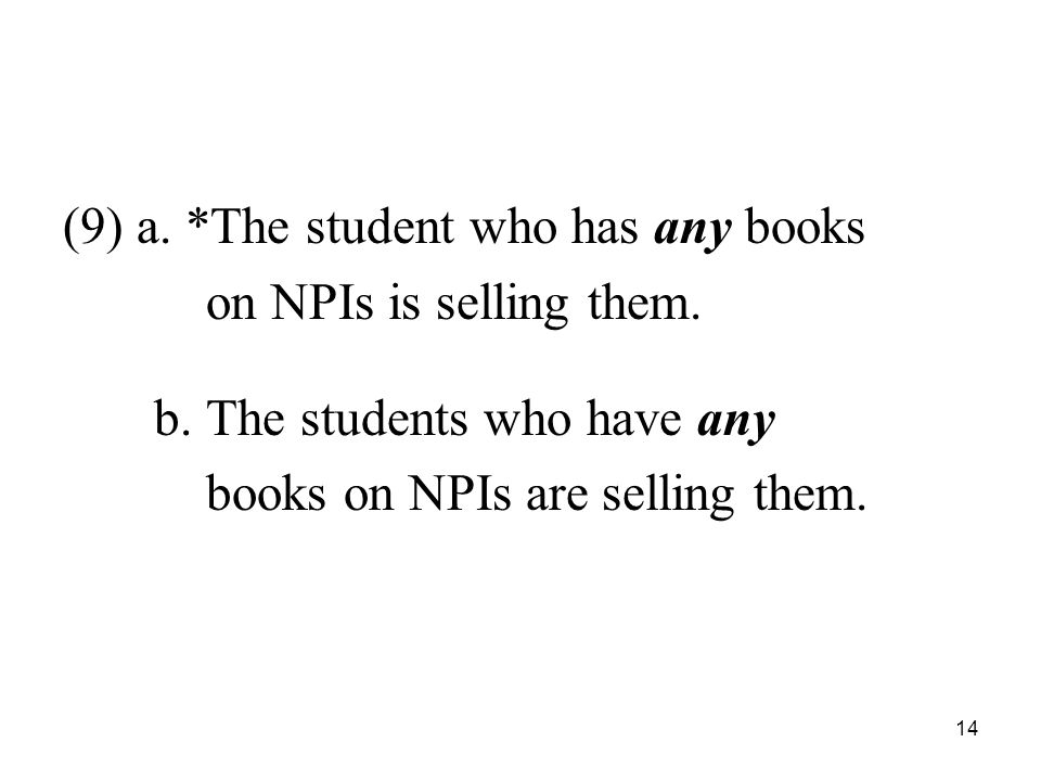 14 (9) a. *The student who has any books on NPIs is selling them.