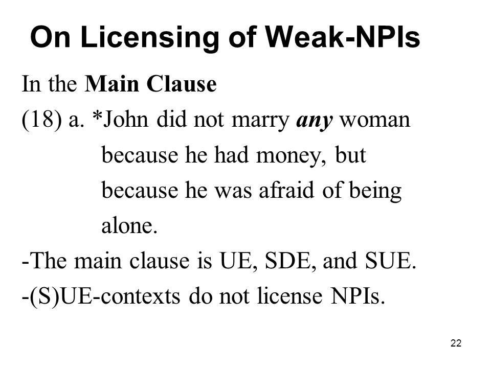 22 On Licensing of Weak-NPIs In the Main Clause (18) a.