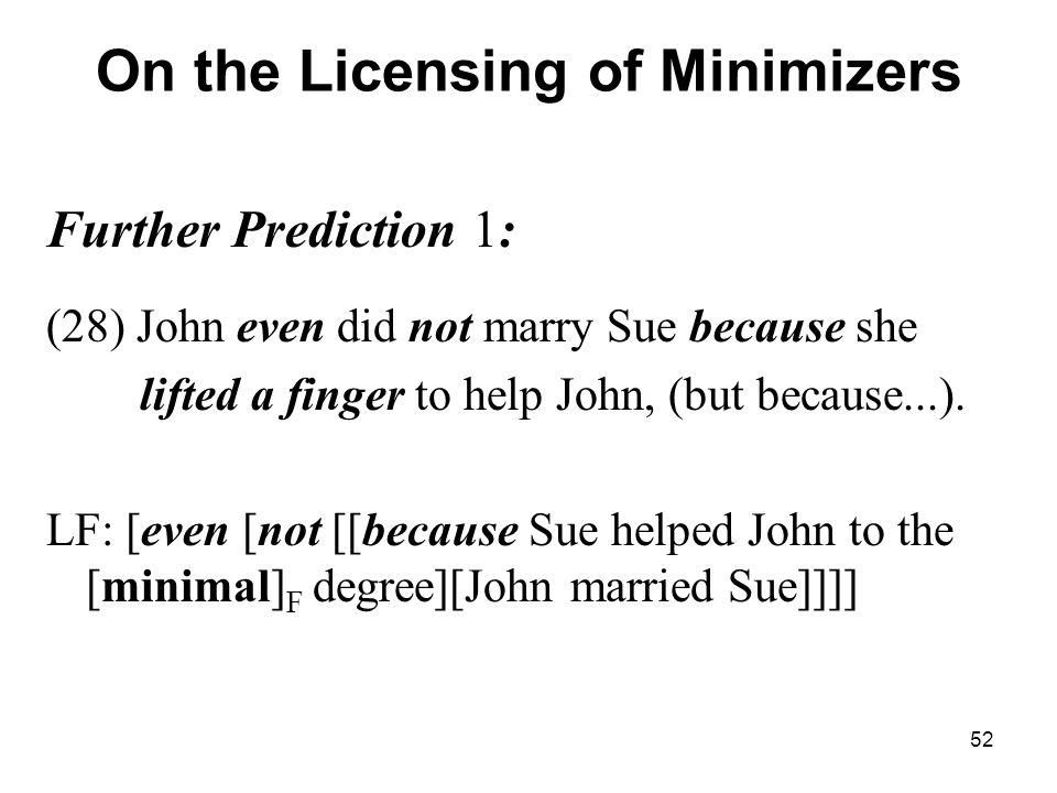 52 On the Licensing of Minimizers Further Prediction 1: (28) John even did not marry Sue because she lifted a finger to help John, (but because...).