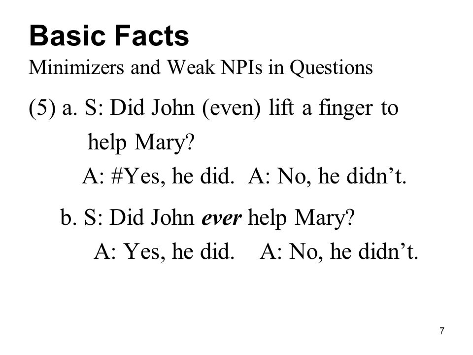 7 Basic Facts Minimizers and Weak NPIs in Questions (5) a.