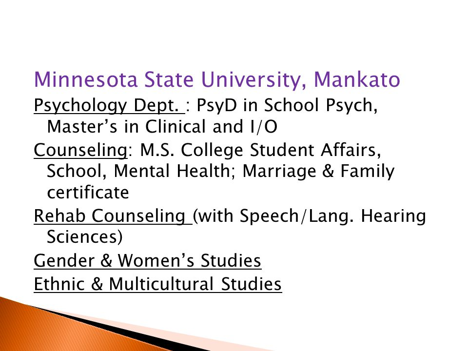 Minnesota State University, Mankato Psychology Dept.