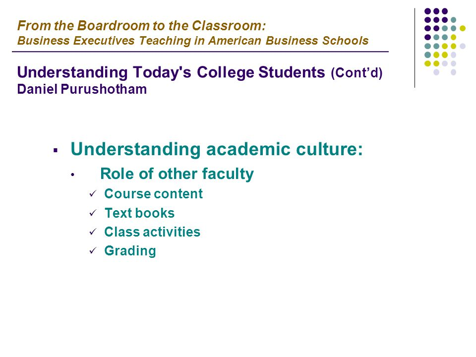  Understanding academic culture: Role of other faculty Course content Text books Class activities Grading From the Boardroom to the Classroom: Business Executives Teaching in American Business Schools Understanding Today s College Students (Cont'd) Daniel Purushotham
