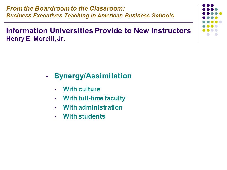  Synergy/Assimilation With culture With full-time faculty With administration With students From the Boardroom to the Classroom: Business Executives