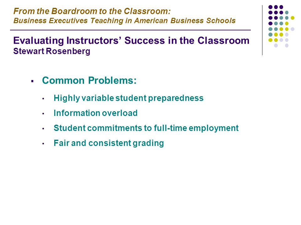  Common Problems: Highly variable student preparedness Information overload Student commitments to full-time employment Fair and consistent grading From the Boardroom to the Classroom: Business Executives Teaching in American Business Schools Evaluating Instructors' Success in the Classroom Stewart Rosenberg