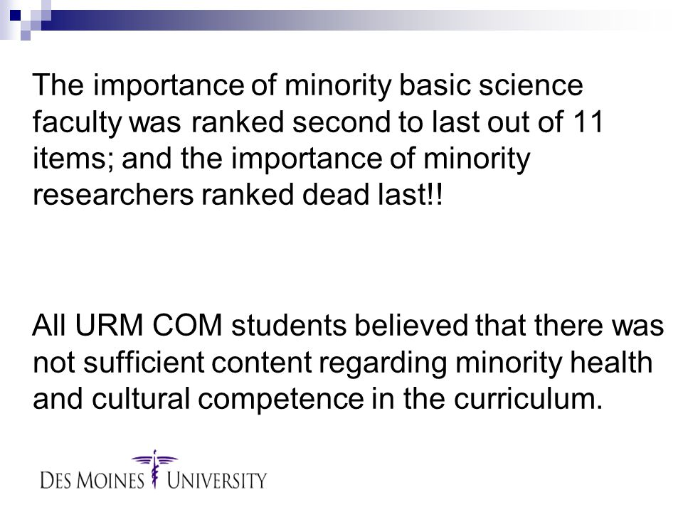 The importance of minority basic science faculty was ranked second to last out of 11 items; and the importance of minority researchers ranked dead last!.
