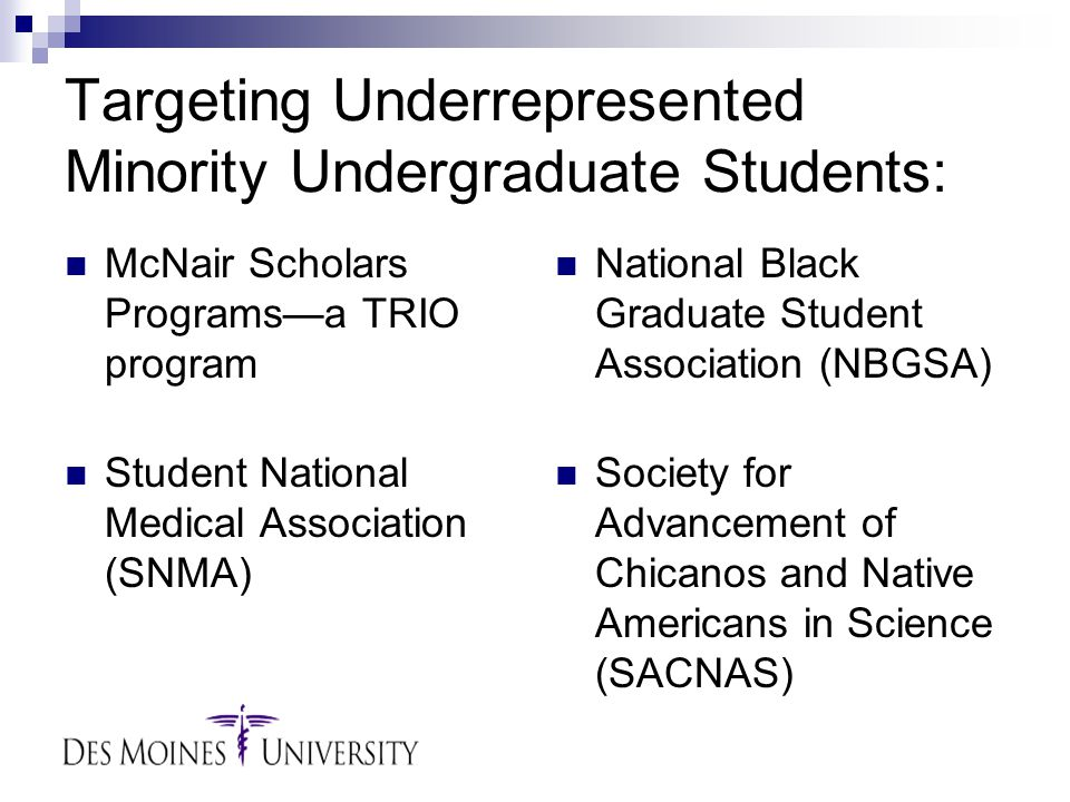 Targeting Underrepresented Minority Undergraduate Students: McNair Scholars Programs—a TRIO program Student National Medical Association (SNMA) National Black Graduate Student Association (NBGSA) Society for Advancement of Chicanos and Native Americans in Science (SACNAS)
