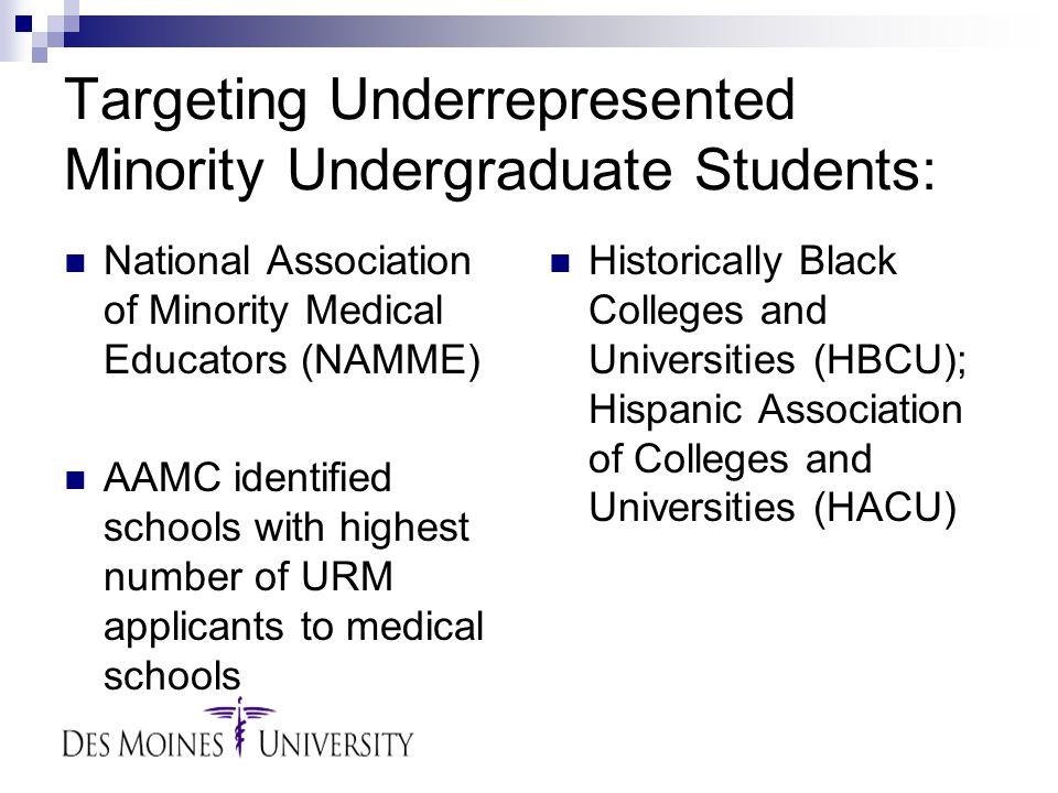 Targeting Underrepresented Minority Undergraduate Students: National Association of Minority Medical Educators (NAMME) AAMC identified schools with hi