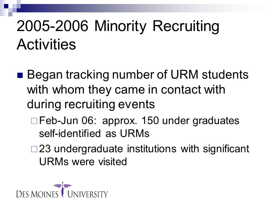 2005-2006 Minority Recruiting Activities Began tracking number of URM students with whom they came in contact with during recruiting events  Feb-Jun 06: approx.
