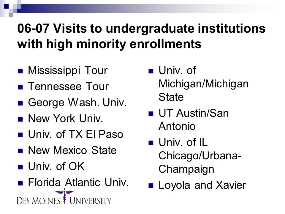 06-07 Visits to undergraduate institutions with high minority enrollments Mississippi Tour Tennessee Tour George Wash.