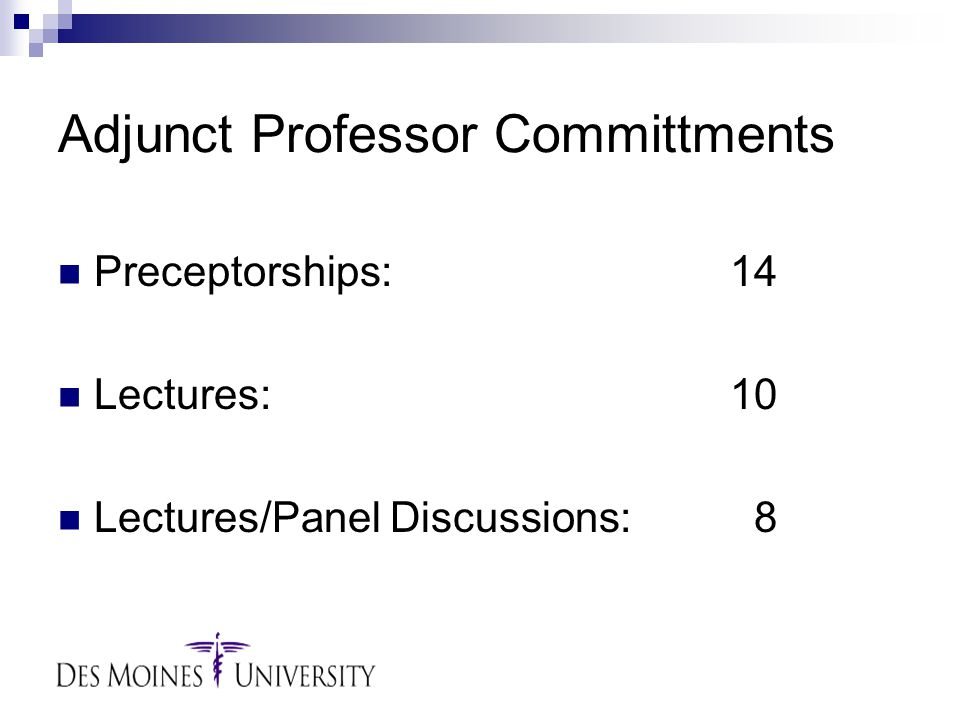 Adjunct Professor Committments Preceptorships:14 Lectures:10 Lectures/Panel Discussions: 8