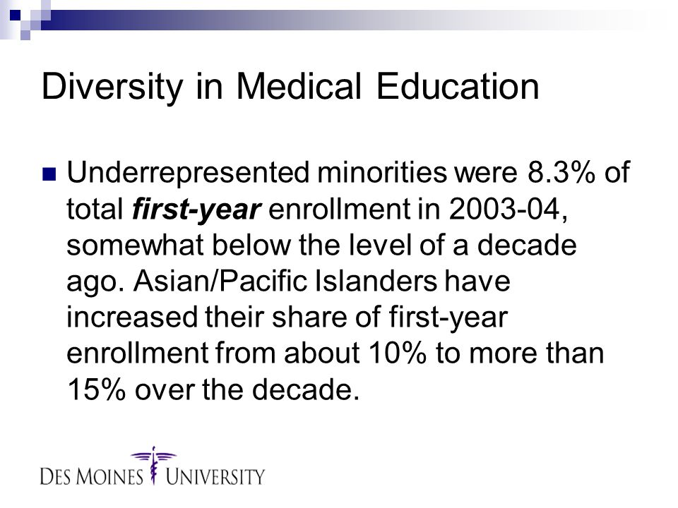 Diversity in Medical Education Underrepresented minorities were 8.3% of total first-year enrollment in 2003-04, somewhat below the level of a decade ago.