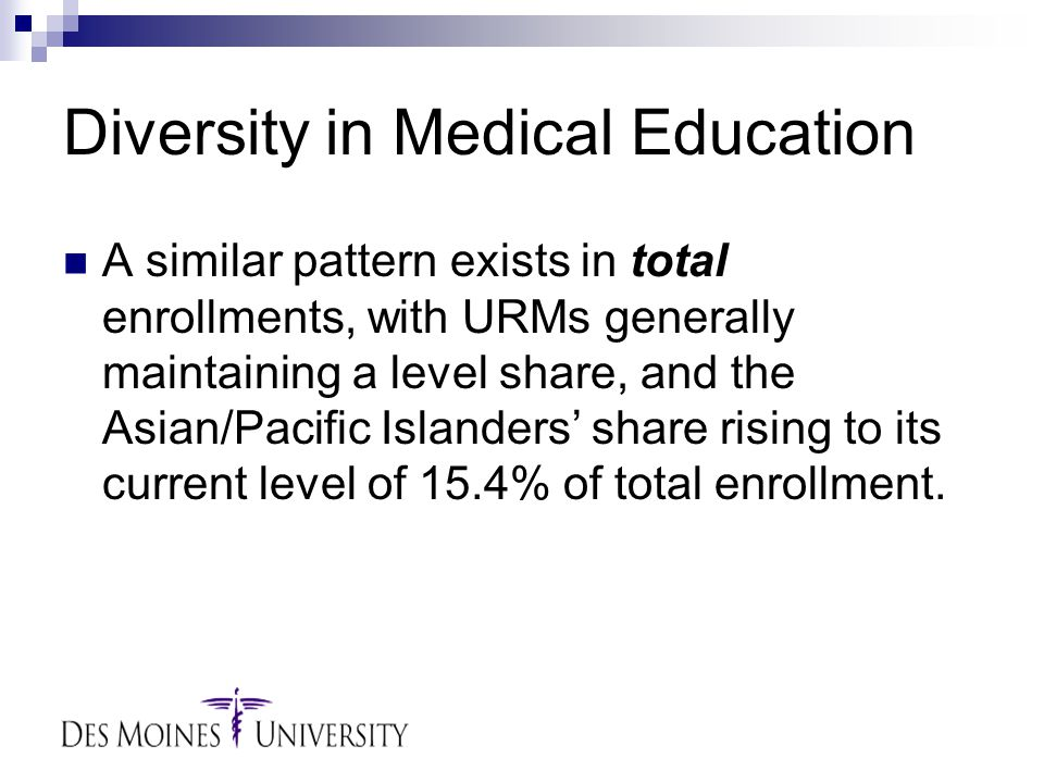 Diversity in Medical Education A similar pattern exists in total enrollments, with URMs generally maintaining a level share, and the Asian/Pacific Islanders' share rising to its current level of 15.4% of total enrollment.