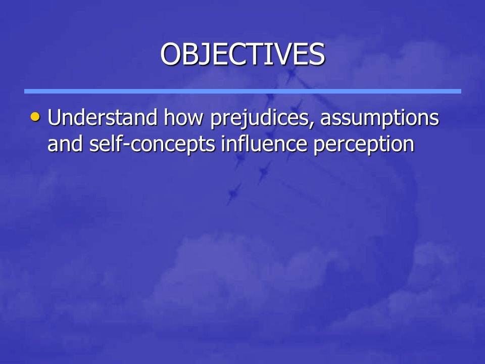 OBJECTIVES Understand how prejudices, assumptions and self-concepts influence perception Understand how prejudices, assumptions and self-concepts influence perception
