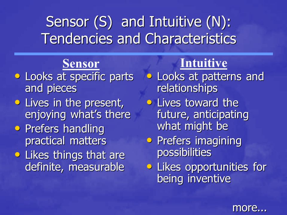Sensor (S) and Intuitive (N): Tendencies and Characteristics Looks at specific parts and pieces Looks at specific parts and pieces Lives in the present, enjoying what's there Lives in the present, enjoying what's there Prefers handling practical matters Prefers handling practical matters Likes things that are definite, measurable Likes things that are definite, measurable Looks at patterns and relationships Looks at patterns and relationships Lives toward the future, anticipating what might be Lives toward the future, anticipating what might be Prefers imagining possibilities Prefers imagining possibilities Likes opportunities for being inventive Likes opportunities for being inventivemore...