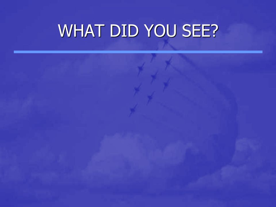 WHAT DID YOU SEE