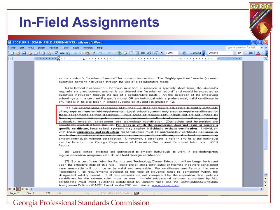 In-Field Assignments 505-2-.26 In-Field Assignments