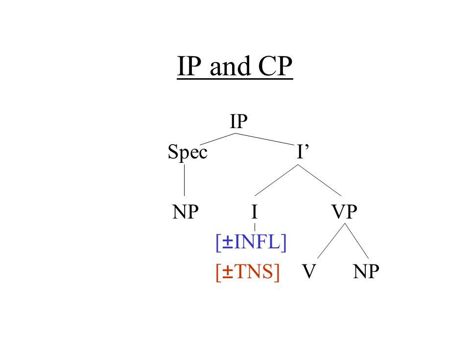 IP and CP IP Spec I' NP I VP [±INFL] [±TNS] V NP