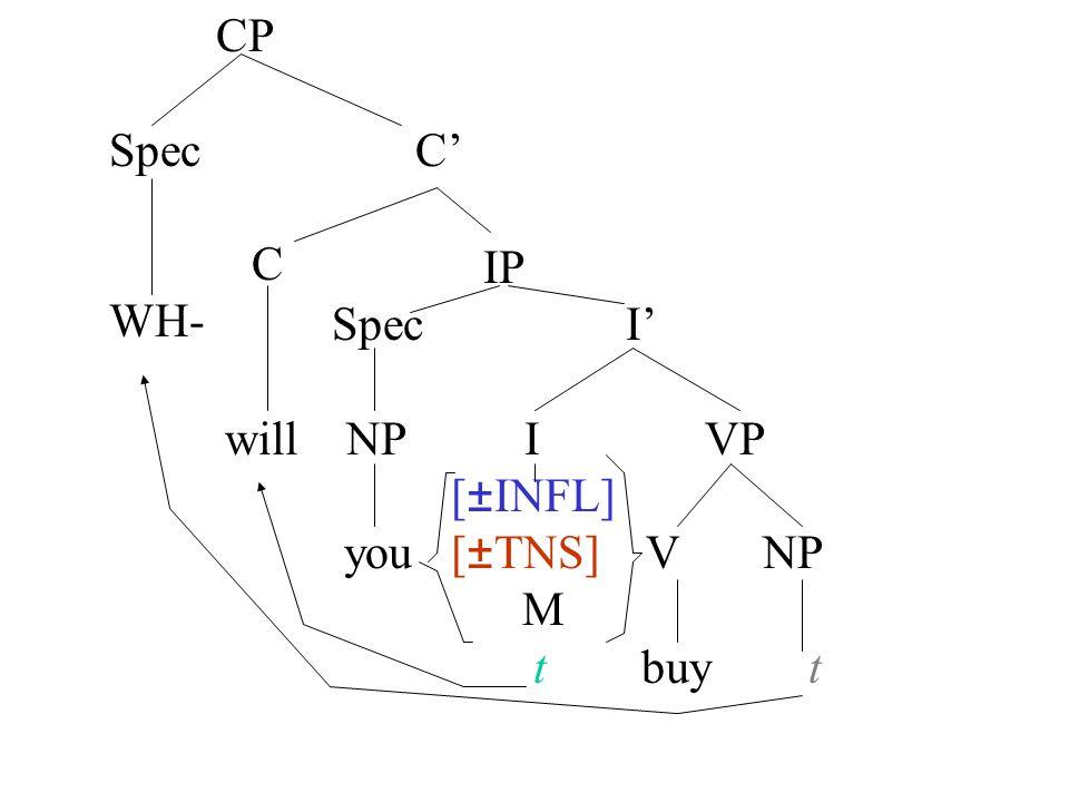 IP Spec I' will NP I VP [±INFL] you [±TNS] V NP M t buy t CP Spec C' C WH-