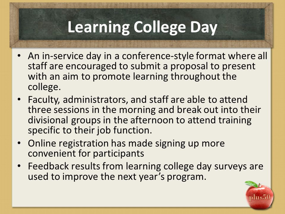 Learning College Day An in-service day in a conference-style format where all staff are encouraged to submit a proposal to present with an aim to prom