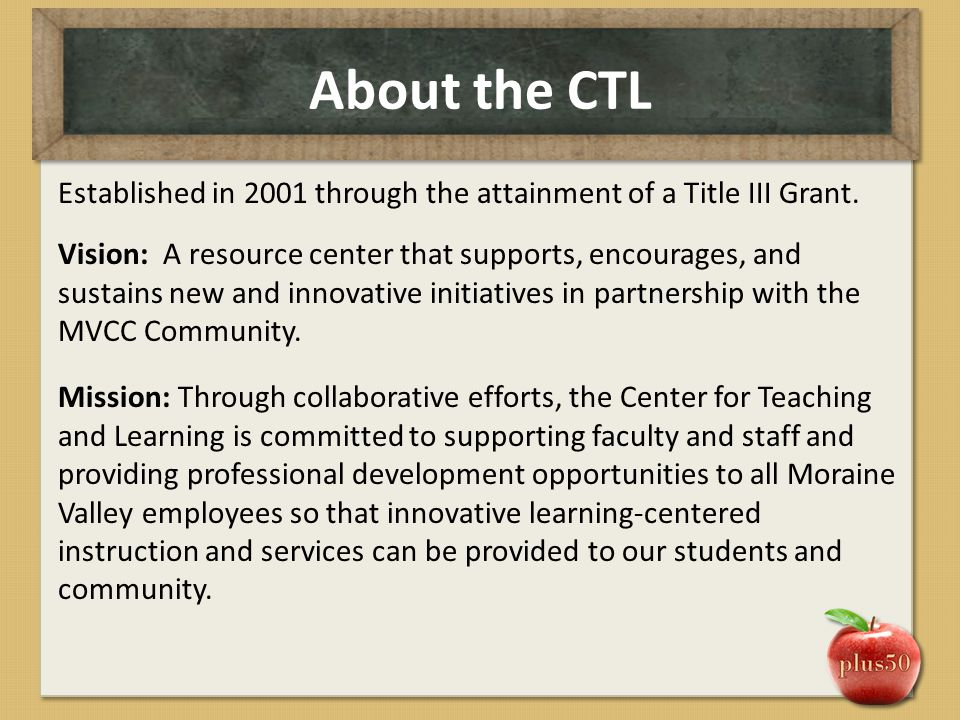 About the CTL Established in 2001 through the attainment of a Title III Grant. Vision: A resource center that supports, encourages, and sustains new a