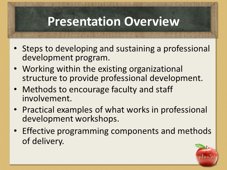Presentation Overview Steps to developing and sustaining a professional development program. Working within the existing organizational structure to p
