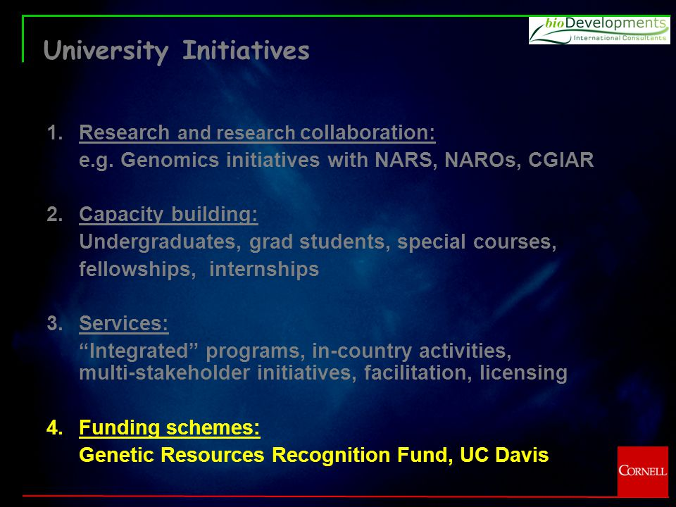 University Initiatives 1.Research and research collaboration: e.g.