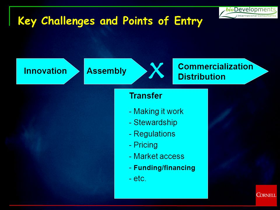 Key Challenges and Points of Entry Innovation Assembly x Transfer - Making it work - Stewardship - Regulations - Pricing - Market access - Funding/financing - etc.