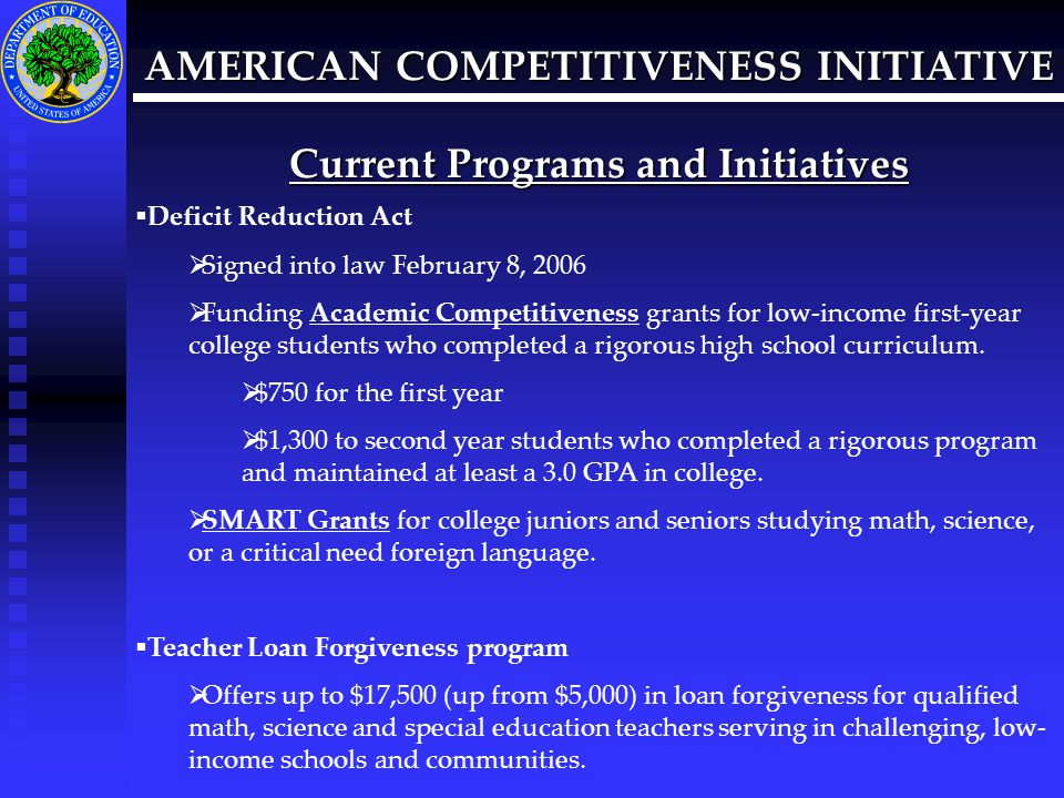 AMERICAN COMPETITIVENESS INITIATIVE Current Programs and Initiatives  Mathematics and Science Partnership program  A formula grants program to the states designed to support professional development programs in mathematics and science for elementary and secondary teachers  Designed to improve the academic achievement of students in mathematics and science by providing teachers with quality and ongoing professional development opportunities.