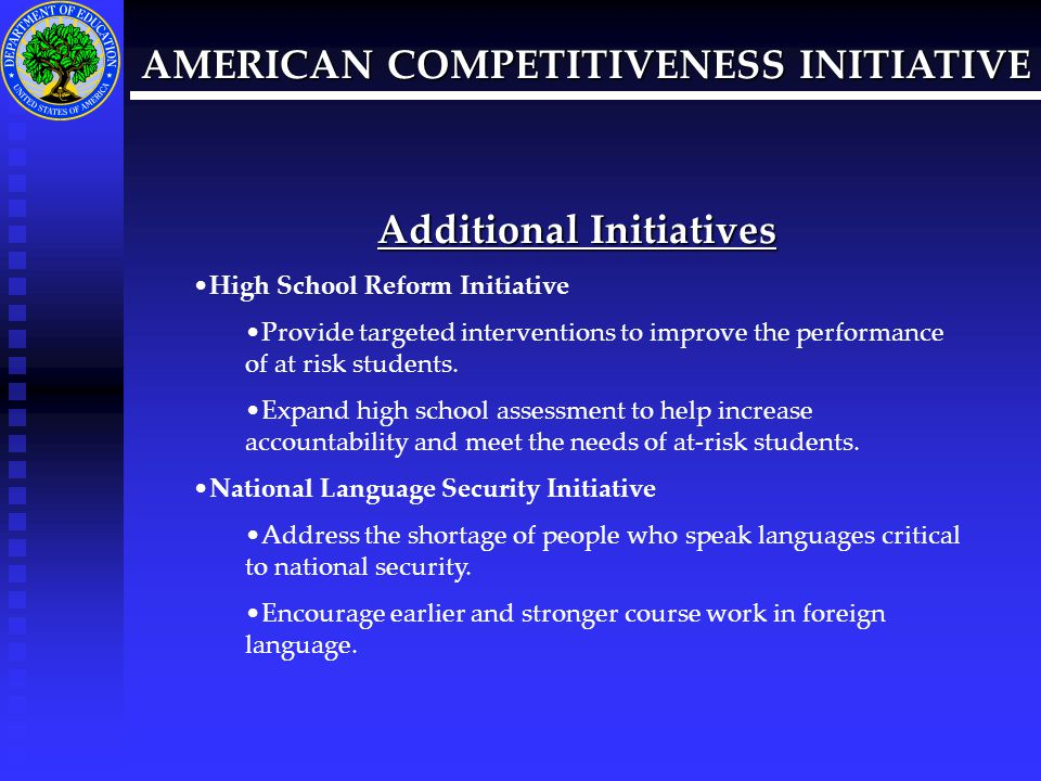 AMERICAN COMPETITIVENESS INITIATIVE Additional Questions Pat O'Connell Ross Patricia.Ross@ed.gov 202-260-7813 Web Sites for Additional Information www.ed.gov www.Whitehouse.gov/news/releases/2006