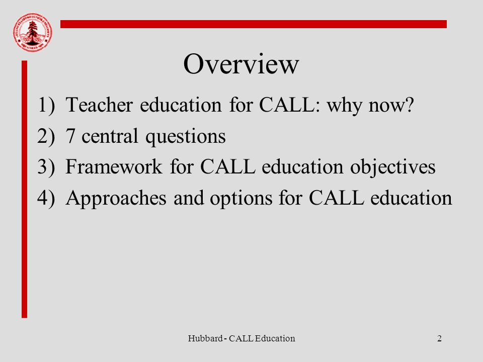 Hubbard - CALL Education2 Overview 1)Teacher education for CALL: why now.