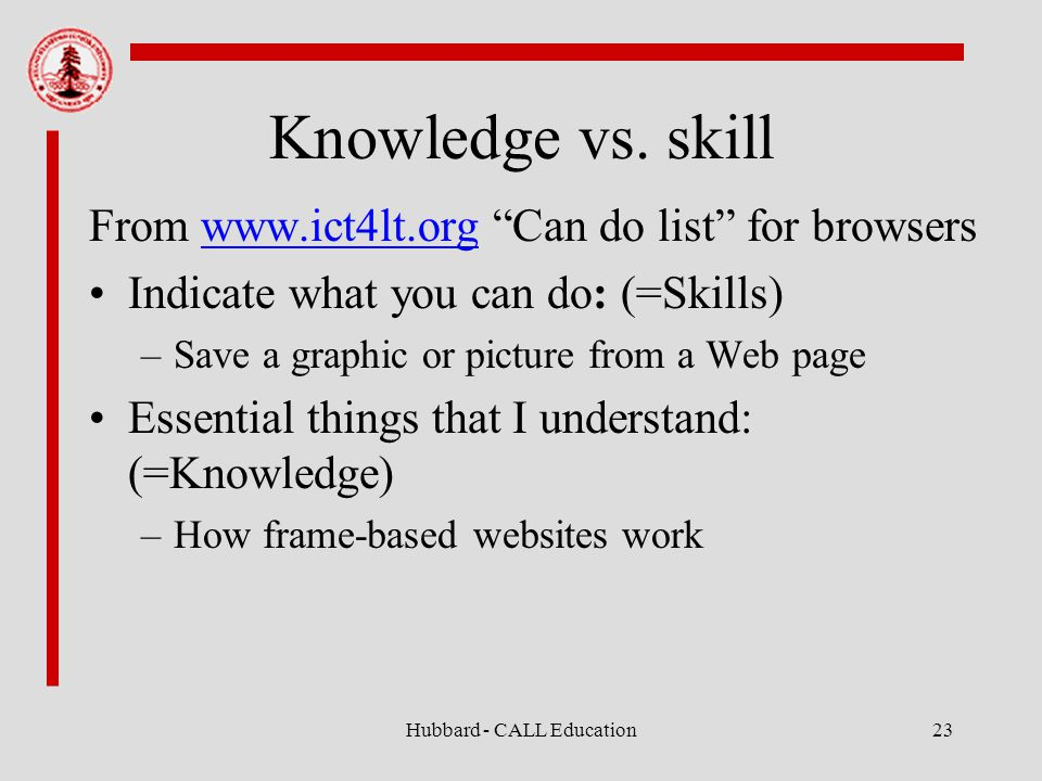 Hubbard - CALL Education23 Knowledge vs.
