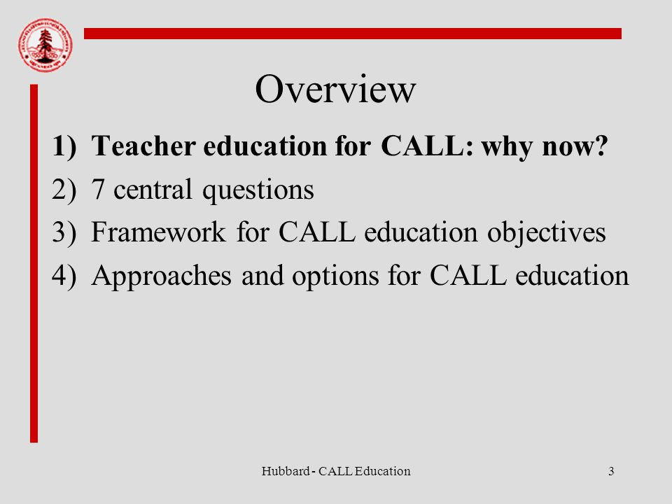 Hubbard - CALL Education3 Overview 1)Teacher education for CALL: why now.