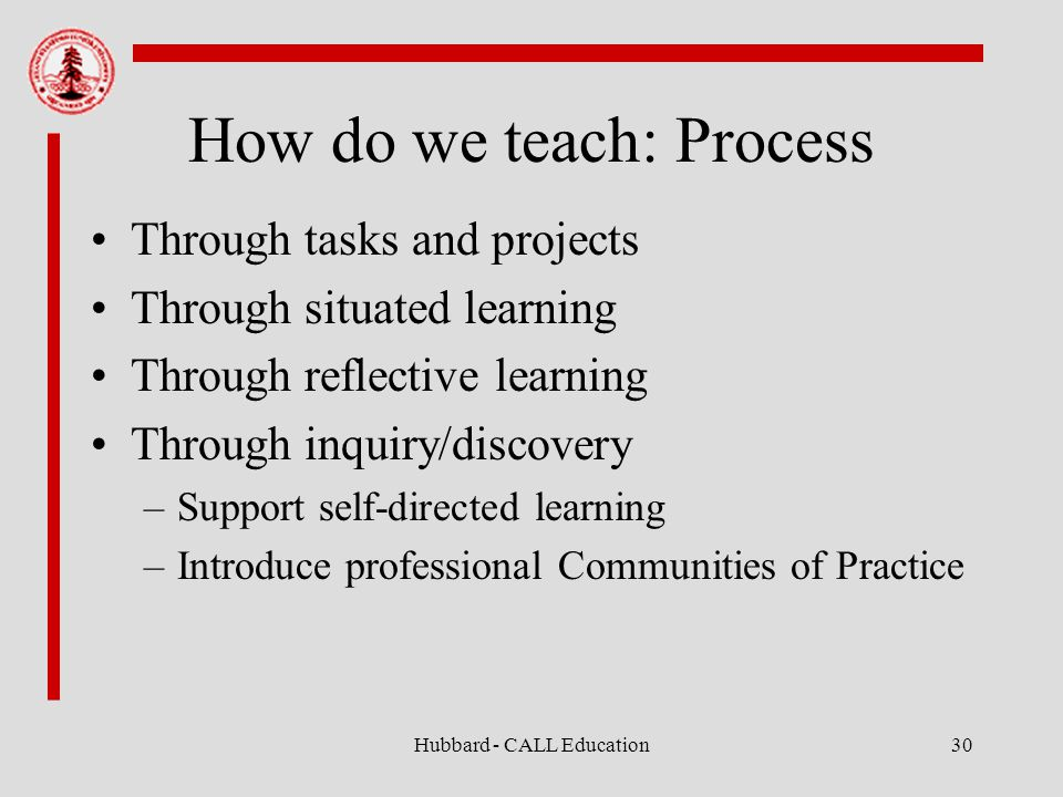 Hubbard - CALL Education30 How do we teach: Process Through tasks and projects Through situated learning Through reflective learning Through inquiry/discovery –Support self-directed learning –Introduce professional Communities of Practice