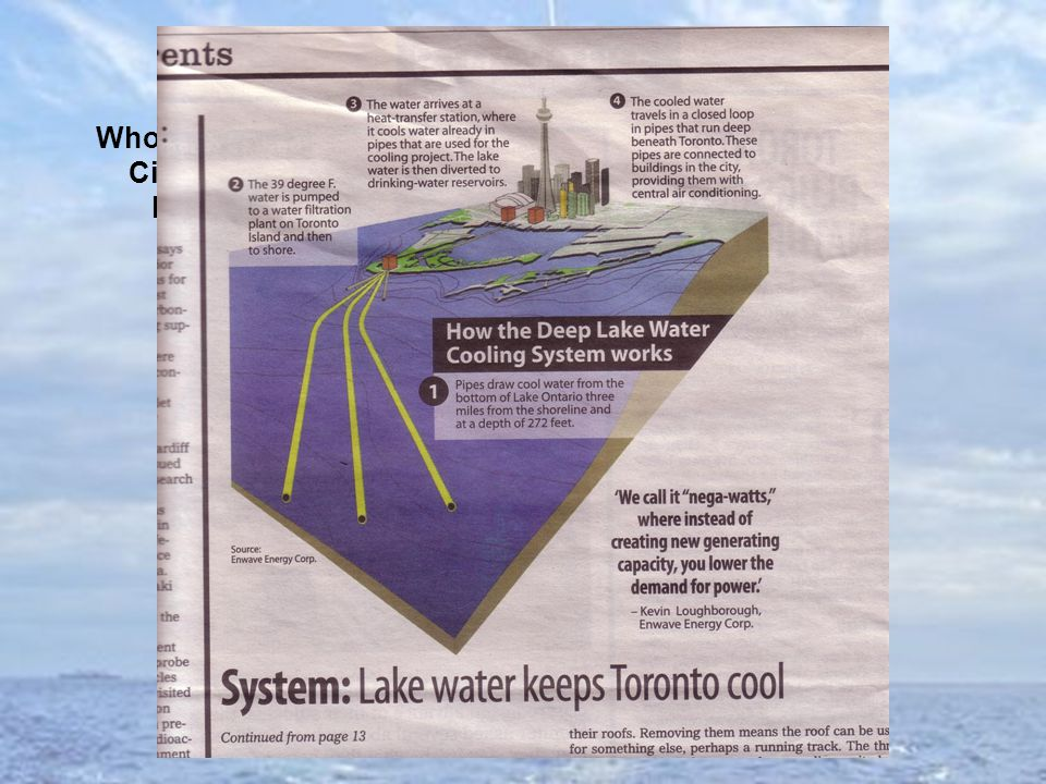 Who's hurrying Cities Lake thermal cooling, in Toronto