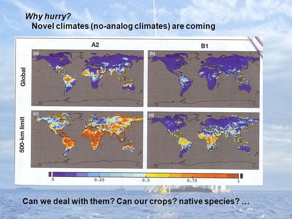 Why hurry. Novel climates (no-analog climates) are coming Can we deal with them.
