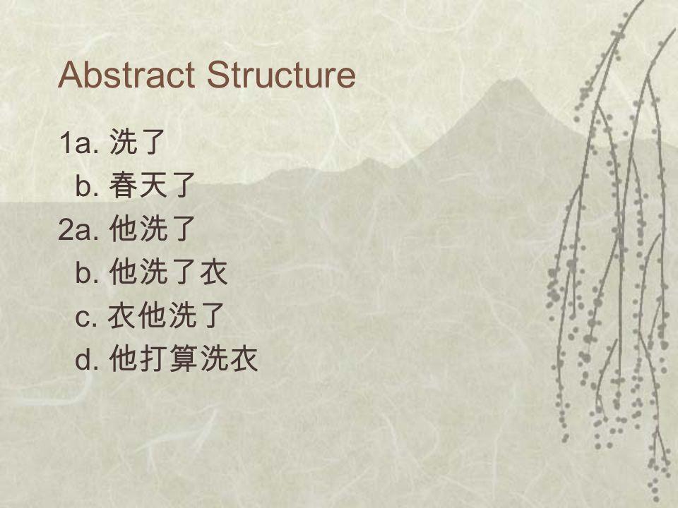 Abstract Structure 1a. 洗了 b. 春天了 2a. 他洗了 b. 他洗了衣 c. 衣他洗了 d. 他打算洗衣