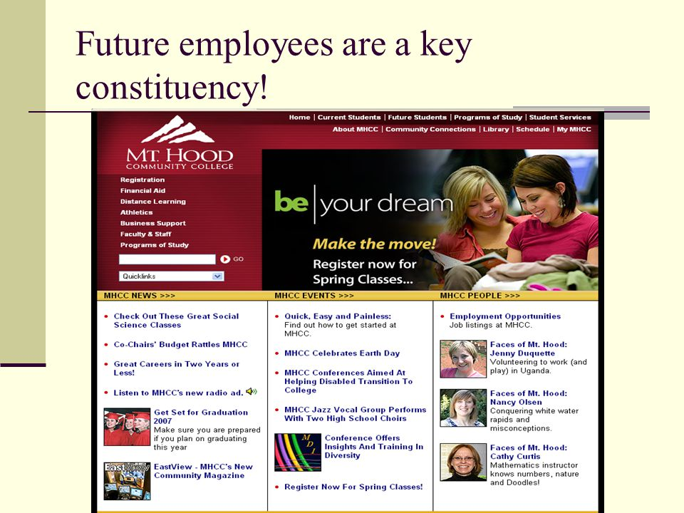 Future employees are a key constituency!