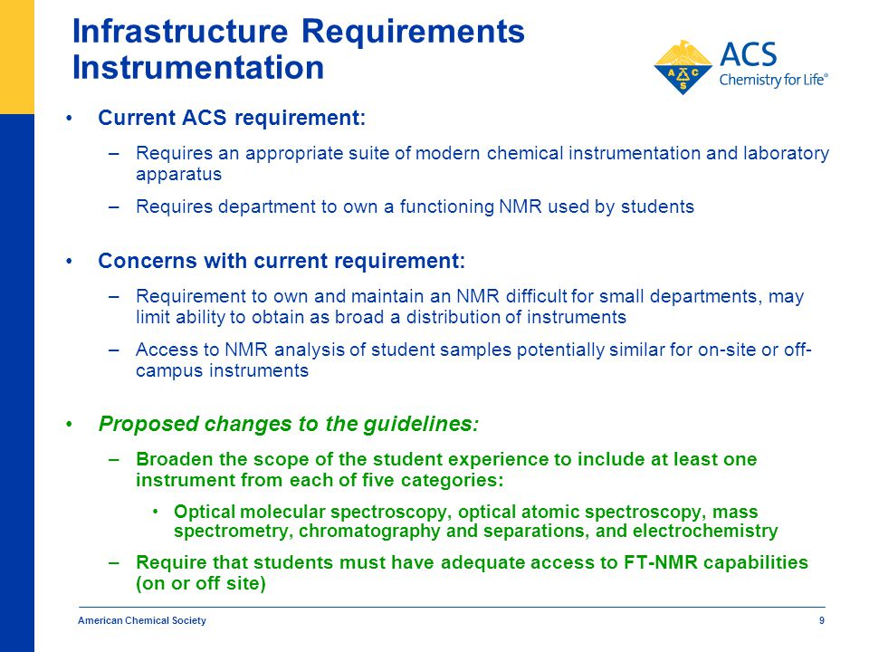 American Chemical Society 10 Infrastructure Requirements Chemical Information Resources Previous ACS requirement: –ACS previously required access to Chemical Abstracts This requirement was removed in January of 2013 Concerns with previous requirement: –Rapidly changing access to chemical literature and search capabilities make it difficult to define an acceptable set of search tools or databases –Previously focused on database access rather than student's skills at using and searching the literature Proposed changes to the guidelines: –Replace a requirement for access to specific search tools or databases with greater emphasis on student skills associated with searching the literature –Proposed skills requirement discussed in upcoming presentation