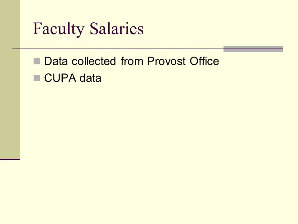 Faculty Salaries Data collected from Provost Office CUPA data