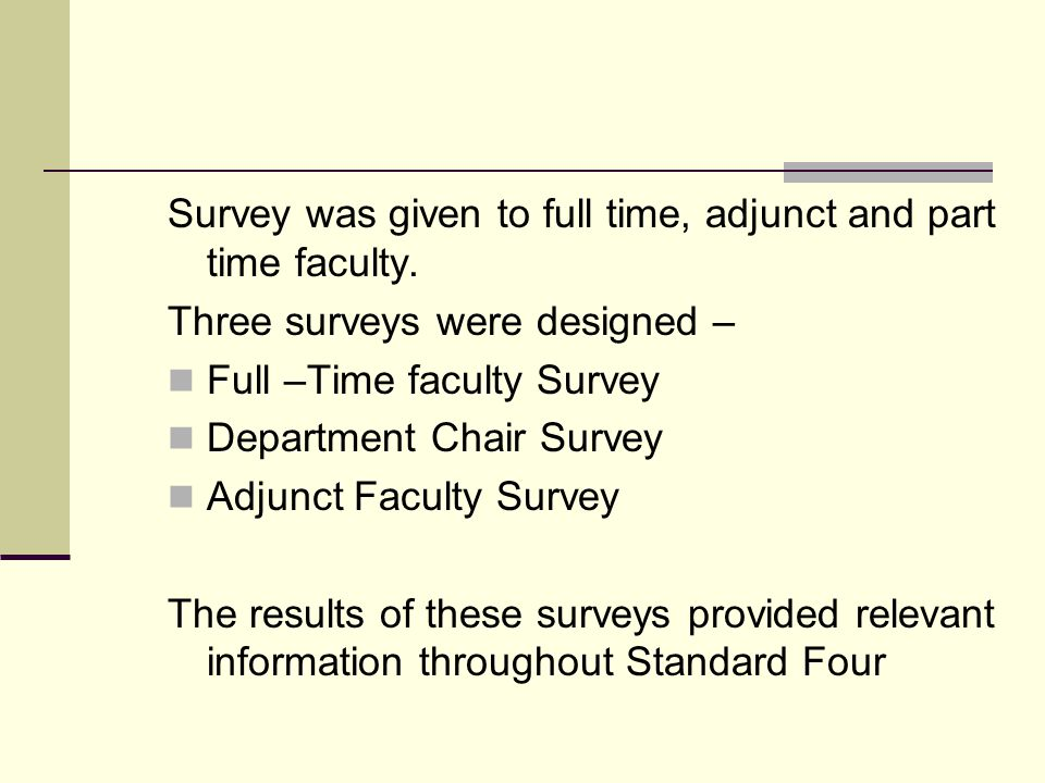 Survey was given to full time, adjunct and part time faculty.