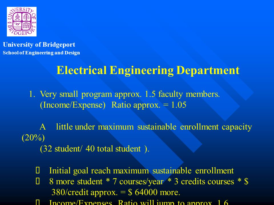 School of Engineering and Design University of Bridgeport Electrical Engineering Department 1.