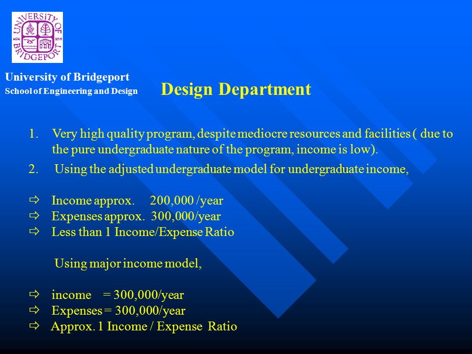 School of Engineering and Design University of Bridgeport 3.Facility relocation and revamping a must.