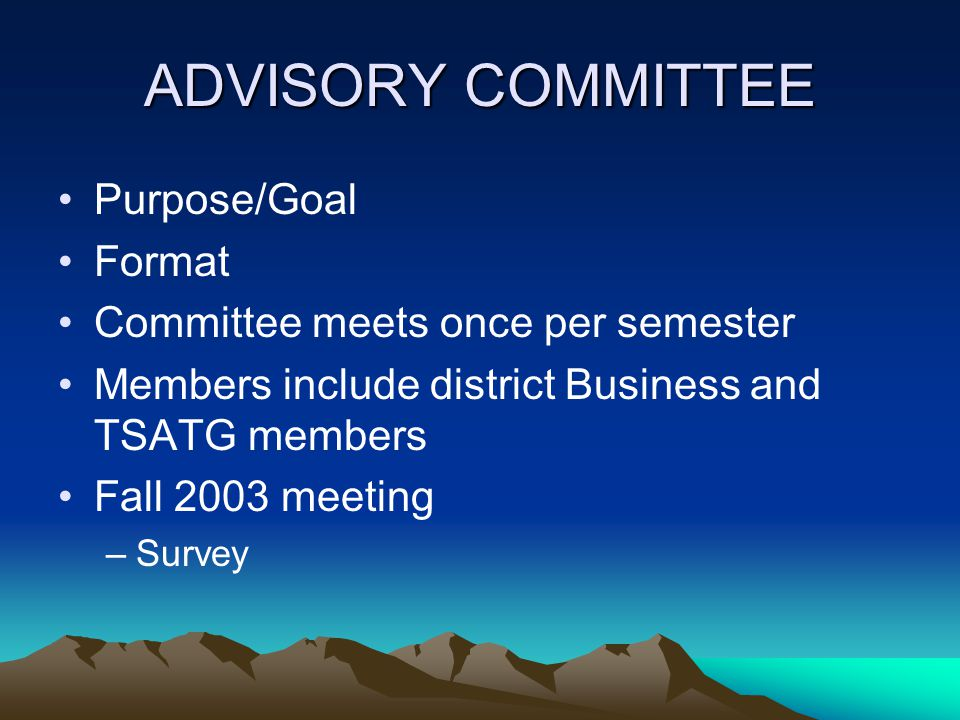 ADVISORY COMMITTEE Purpose/Goal Format Committee meets once per semester Members include district Business and TSATG members Fall 2003 meeting –Survey